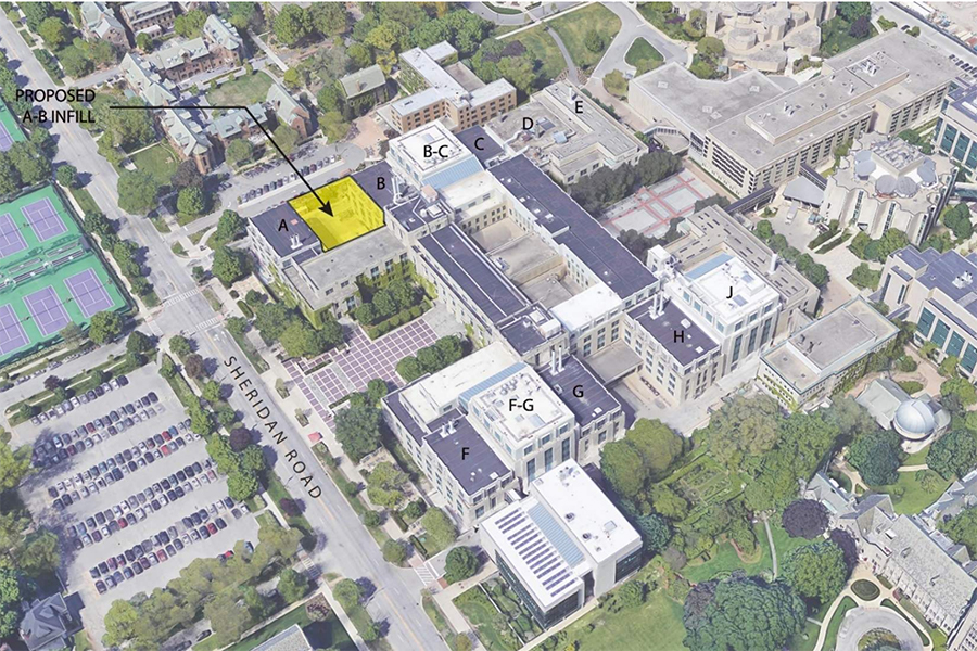 The+current+satellite+view+of+the+Technological+Institute%2C+with+the+proposed+location+of+the+new+infill+shown+in+yellow.+The+addition+will+be+one+of+several+to+be+built+since+2008%2C+architect+Mitchell+Fox+said.