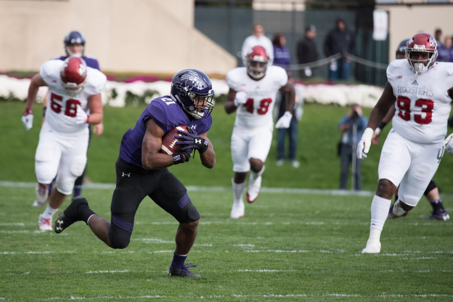Justin Jackson runs with the ball in last seasons homecoming game against Indiana. Jackson was named to the watchlist for the 2017 Maxwell Award on Monday.