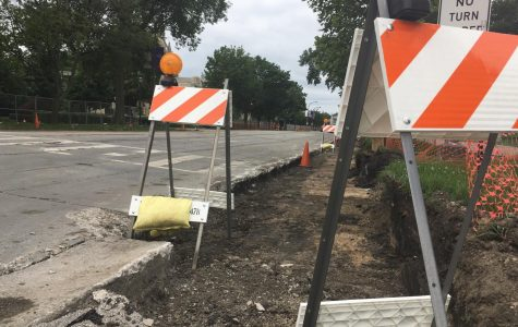 Preliminary work is completed on Sheridan Road alongside campus. Full-scale construction, reducing the road to one lane, will begin Wednesday.