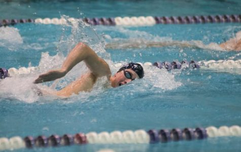 Jordan Wilimovsky swims in a meet for Northwestern. The recent NU grad won the silver medal in the 10-kilometer open water swim at the world championships.