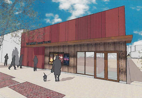 A rendering for the new Theo Ubique dinner theater that was presented Wednesday. The Chicago-based cabaret theater hopes to renovate a much-discussed vacant storefront at 721 Howard Street.