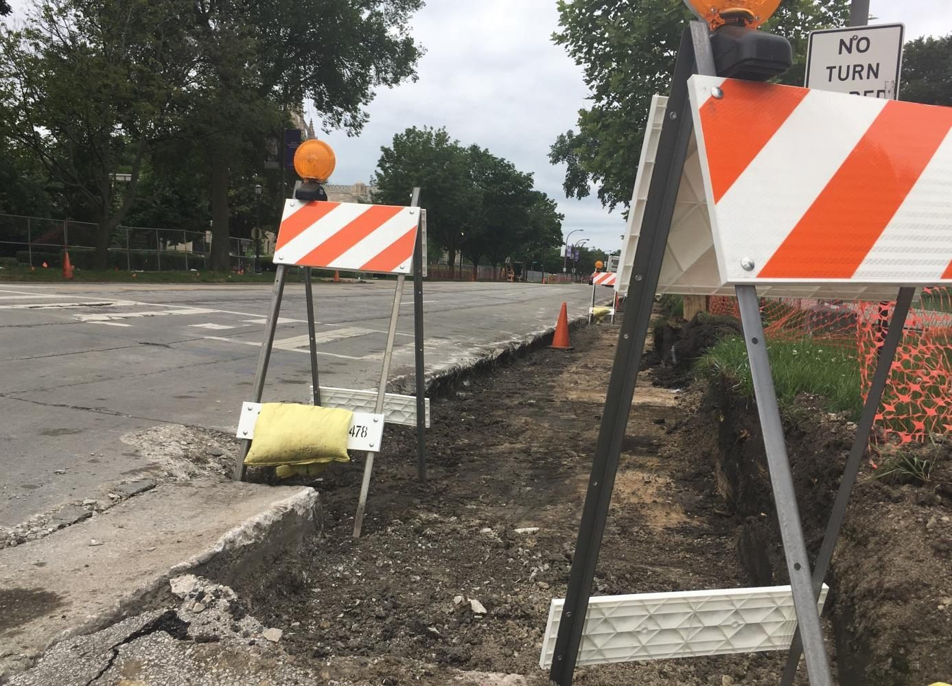 Construction equipment on Sheridan Road. Foster and Noyes streets will be temporarily closed this month because of the work.