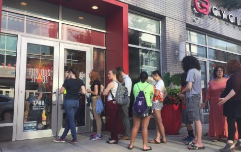 Customers wait outside Furious Spoon for its Thursday 5 p.m. grand opening. The ramen restaurant is located at Maple Avenue and Church Street downtown.