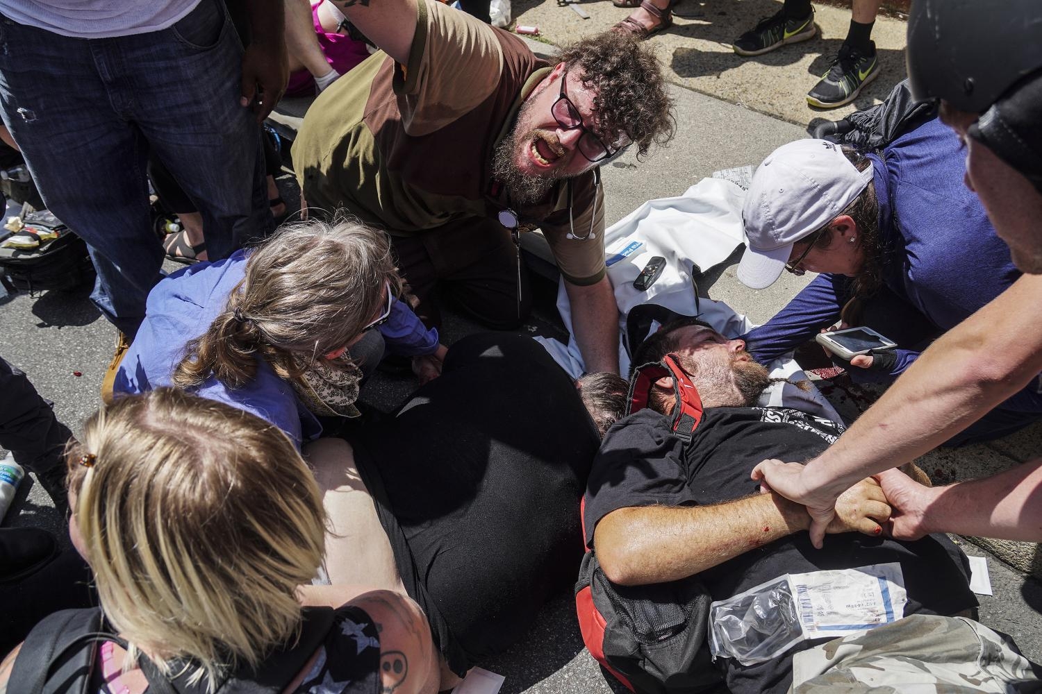 The aftermath of a collision involving white nationalist protestors in Charlottesville, Virginia, on Saturday. University President Morton Schapiro expressed disgust over those actions and the response by President Donald Trump.