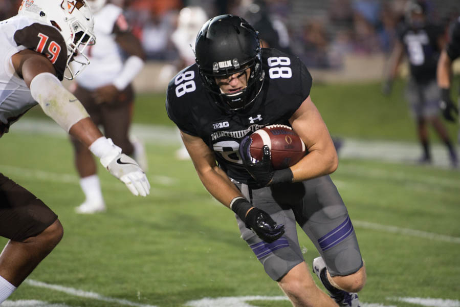 Ben Skowronek runs with the ball. The sophomore wide receiver hauled in a pair of touchdowns against Bowling Green.