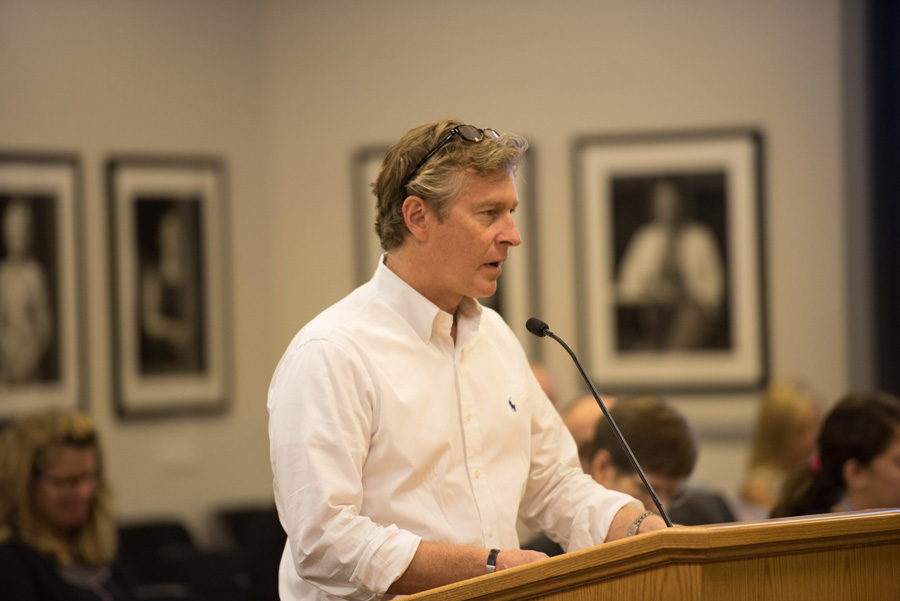 Ald. Donald Wilson (4th) speaks at City Council on Monday evening. Council unanimously approved the schematic design for the renovation of the Robert Crown Community Center.