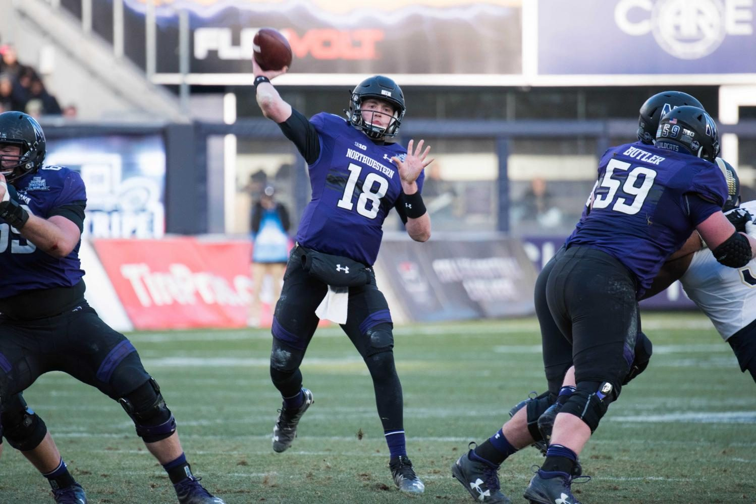 Clayton Thorson passes. The junior quarterback tossed for 352 yards in Northwesterns win over Nevada on Saturday.