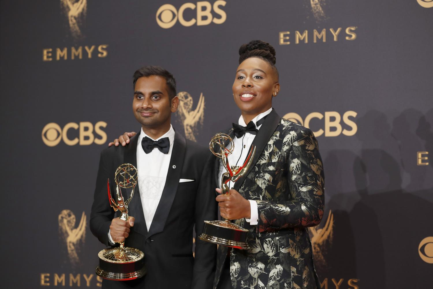 Aziz+Ansari+and+Lena+Waithe+in+the+Trophy+Room+at+the+69th+Primetime+Emmy+Awards+at+the+Microsoft+Theater+in+Los+Angeles+on+Sunday%2C+Sept.+17%2C+2017.