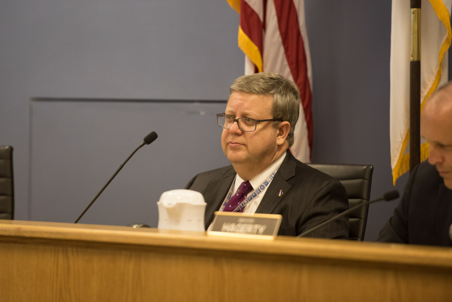 City+manager+Wally+Bobkiewicz+speaks+at+City+Council.+Bobkiewicz+was+praised+during+an+annual+review+for+his+communication+skills+and+transparency.