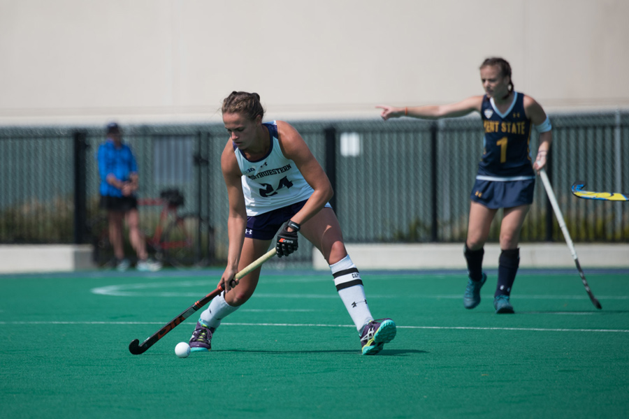 Sophia+Miller+moves+the+ball+upfield.+The+senior+defender+will+lead+the+No.+14+Wildcats+into+their+weekend+battles+with+No.+3+Penn+State+and+No.+10+Maryland.+