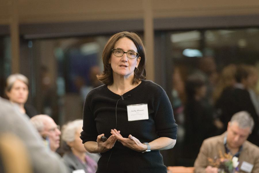 Kellogg Dean Sally Blount speaks at a town hall in November 2016. Blount will step down as dean and take a one-year sabbatical at the end of this academic year.