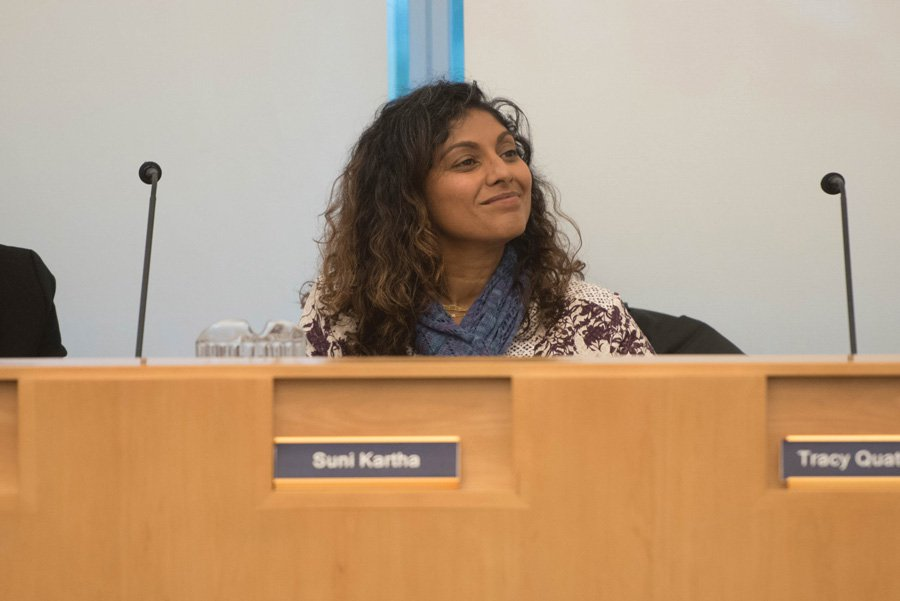 Evanston/Skokie School District 65 board president Suni Kartha at a meeting. In response to concerns about the Fiscal Year 2018 budget surplus, Kartha said Monday that the district needs to discuss solutions for spending soon.