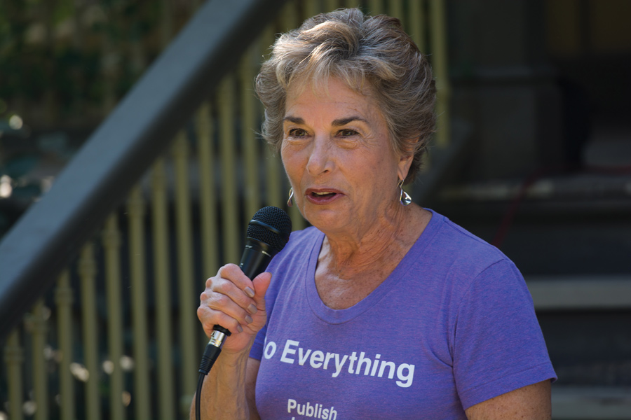 U.S. Rep. Jan Schakowsky (D-Ill.) speaks at a celebration Sunday for Frances Willard's 178th birthday. Schakowsky won re-election Tuesday.
