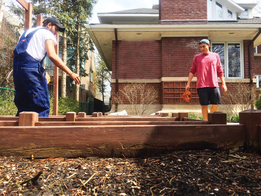 Northwestern students Akshay Rao and Nick Holterman paint raised garden beds while on a job with Local. Local was created to connect Evanston homeowners who need odd jobs done with Northwestern students looking for work.