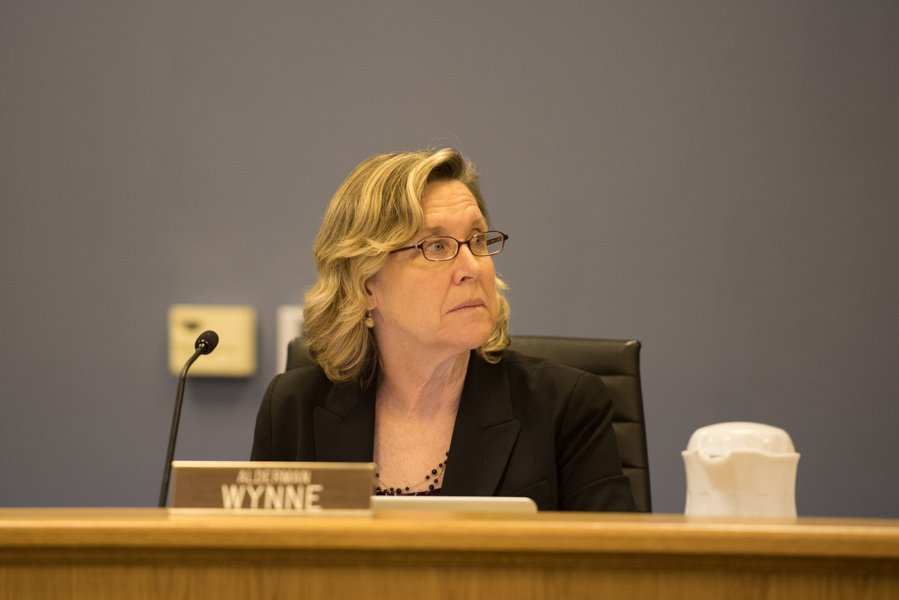Ald. Melissa Wynne (3rd) speaks at City Council on Monday. Wynne opposed the sale of the parking lot adjacent to the Evanston Public Library, which passed in a 6-2 vote.