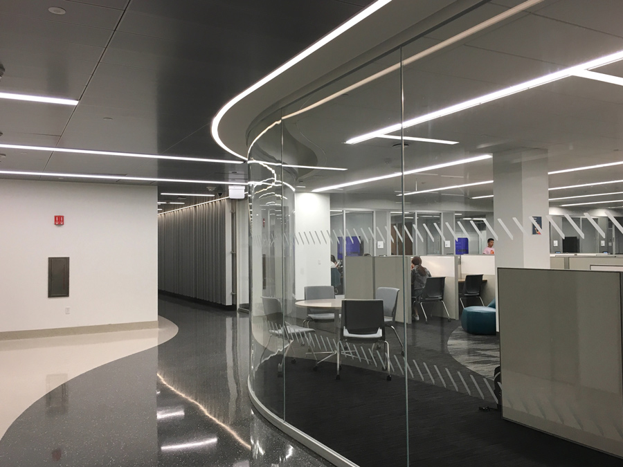 The newly renovated interior of Mudd Library, 2233 Tech Drive. After 18 months under construction, the North Campus library reopened last week to offer expanded study spaces and technological resources.