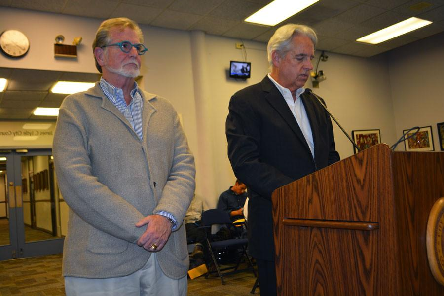 Northlight Theatre executive director Tim Evans (right) and artistic director BJ Jones speak to City Council in October 2015 about their interest in returning to Evanston in its proposed downtown performing arts center. Some community members expressed concerned because the development is a proposed high-rise, and the space is currently home to seven businesses.