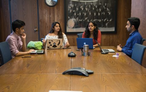 Shyam Mani, Aishwarya Chenji, Dhivya Sridar and Archit Baskaran hold a meeting in Norris University Center. I-AM SHAKTI was founded to provide support and education about mental illness primarily in the Indian American community.