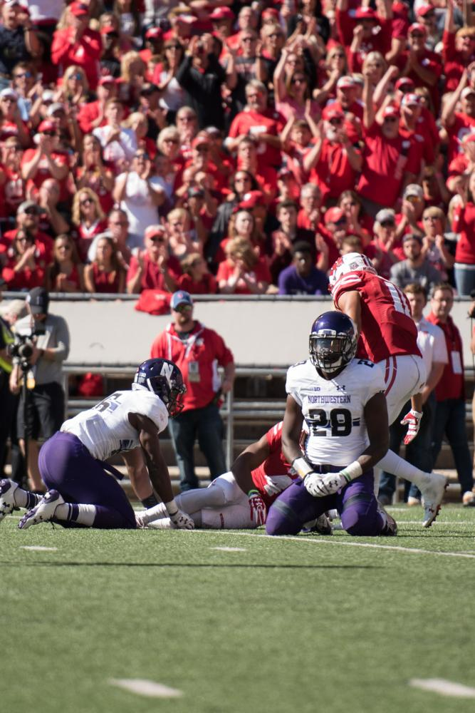 Trae Williams slouches. The sophomore cornerback forced a fumble in Northwestern's loss to No. 10 Wisconsin.