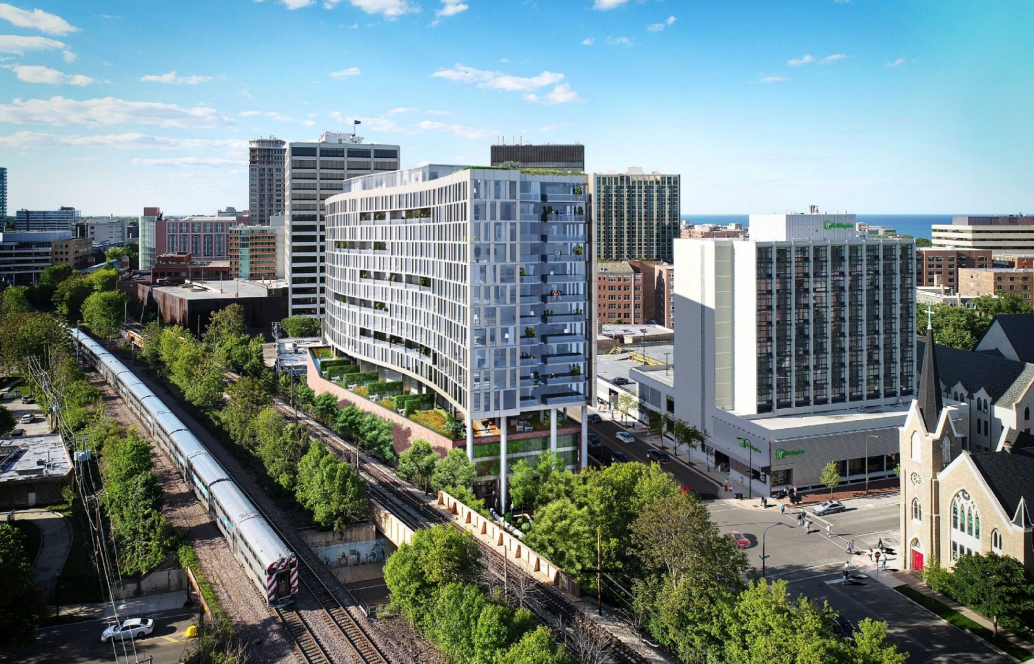 An artist rendering of the proposed 16-story building on Sherman Avenue. Albion Residential's proposal passed 4-2 in the Plan Commission on Wednesday.