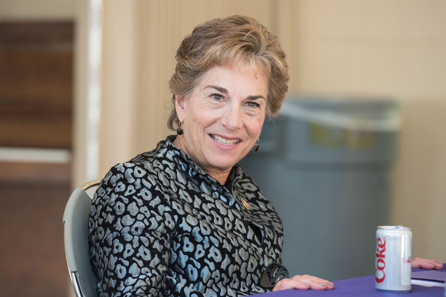 U.S. Rep. Jan Schakowsky (D-Ill.) addresses Northwestern students at an October 2016 event on campus. Schakowsky critiqued President Trump's new tax plan Wednesday, saying it would exacerbate income inequality.