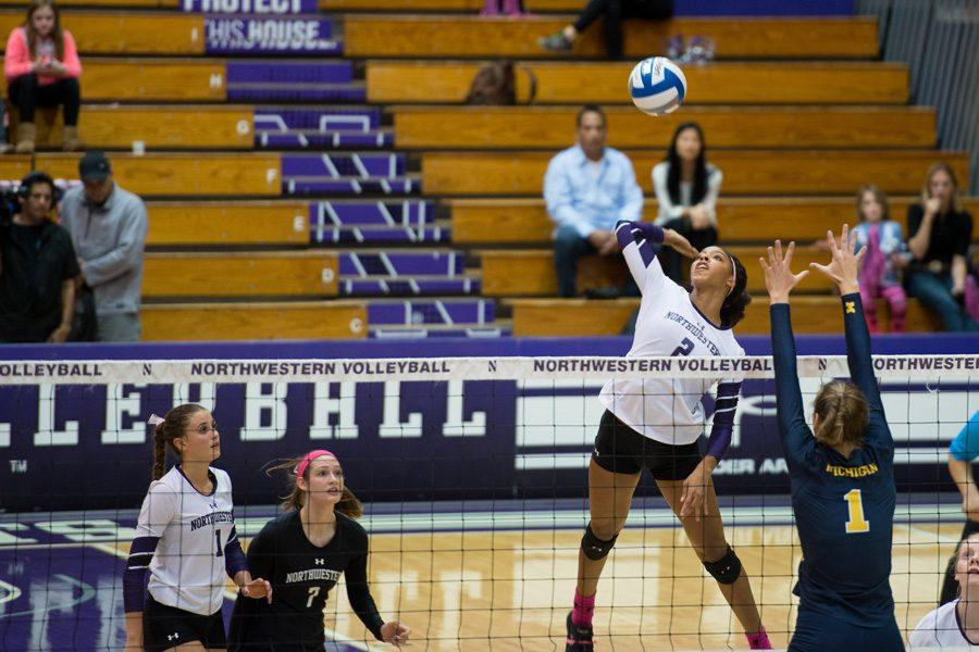 Symone+Abbott+jumps+for+an+attack.+The+senior+outside+hitter+helped+lead+Northwestern+to+an+undefeated+weekend+at+the+Duke+Invitational.