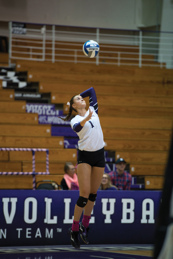 Taylor+Tashima+serves+the+ball.+The+senior+setter+tallied+29+assists+in+Northwestern%E2%80%99s+loss+to+No.+13+Purdue.