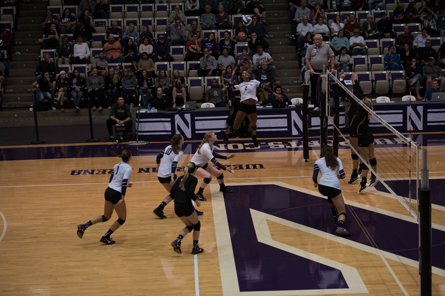 Symone+Abbott+goes+up+for+a+swing.+The+senior+outside+hitter+will+look+to+lead+the+Wildcats+against+Illinois+on+Saturday.