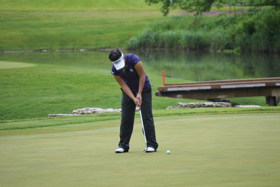 Sarah Cho strikes a putt. The senior is looking forward to her last home event this weekend.