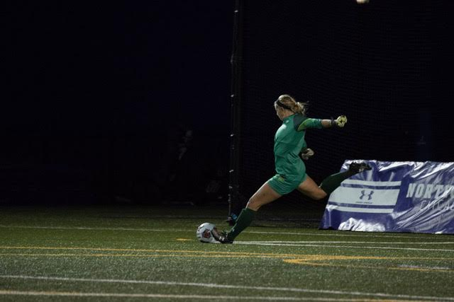 Lauren Clem kicks the ball upfield. The senior goalkeeper allowed the only goal of the game in Sunday's 1-0 loss to Pepperdine.
