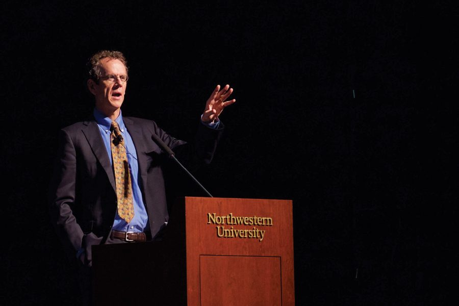 David Cole, the national legal director for the American Civil Liberties Union, speaks at an event in Cahn Auditorium. He argued that individuals outside the formal scope of government have the responsibility to fight for the protection of civil liberties.