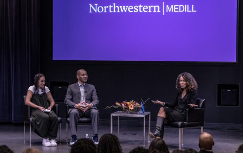 "Medill senior Louisa Wyatt, Director of Sports Journalism J.A. Adande and Mara Brock Akil speak at McCormick Foundation Center on Thursday. Adande said when he met Brock Akil, she was ""just a girl from Kansas City"" wearing overalls."