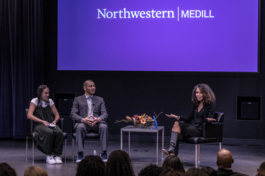 Medill+senior+Louisa+Wyatt%2C+Director+of+Sports+Journalism+J.A.+Adande+and+Mara+Brock+Akil+speak+at+McCormick+Foundation+Center+on+Thursday.+Adande+said+when+he+met+Brock+Akil%2C+she+was+%E2%80%9Cjust+a+girl+from+Kansas+City%E2%80%9D+wearing+overalls.