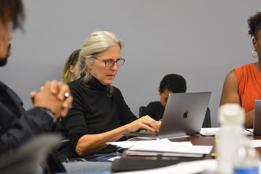 Committee member Karen Courtright speaks at the first Citizen Police Complaint Assessment Committee meeting on Thursday. The committee decided the police complaint form was inadequate.