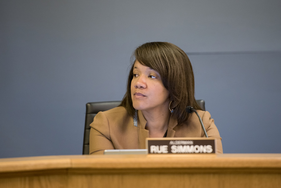 Ald. Robin Rue Simmons (5th) speaks at Monday's City Council meeting. Rue Simmons said she wants more diversity of members on Evanston's boards and commissions.