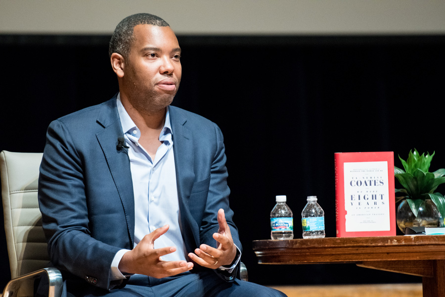 Author and journalist Ta-Nehisi Coates discusses white supremacy and writing at a Wednesday event. The event, hosted at Evanston Township High School, was moderated by ETHS Principal Marcus Campbell.