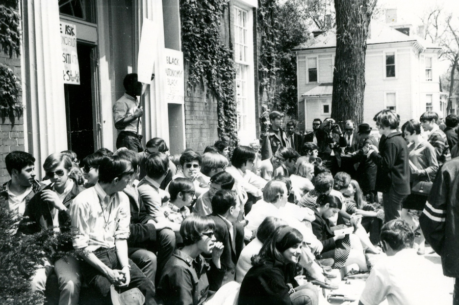 Students occupy the Northwestern Bursar's office in May 1968 for a 38-hour peaceful protest. Current students and alumni gathered at the Black House Friday to commemorate the protest's 50th anniversary.