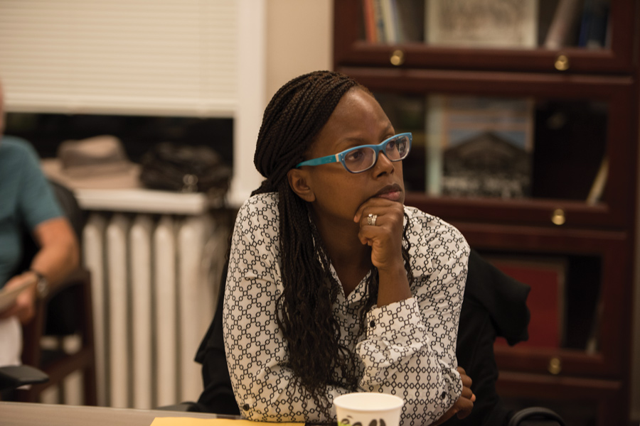 "Ald. Cicely Fleming (9th) attends a meeting in the aldermanic library. Fleming and other aldermen voted to amend Evanston's ""welcoming city"" ordinance at Monday's meeting."