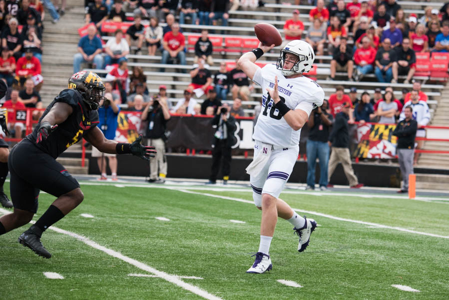 Clayton+Thorson+passes+downfield.+The+junior+tossed+for+293+yards+against+Maryland.+