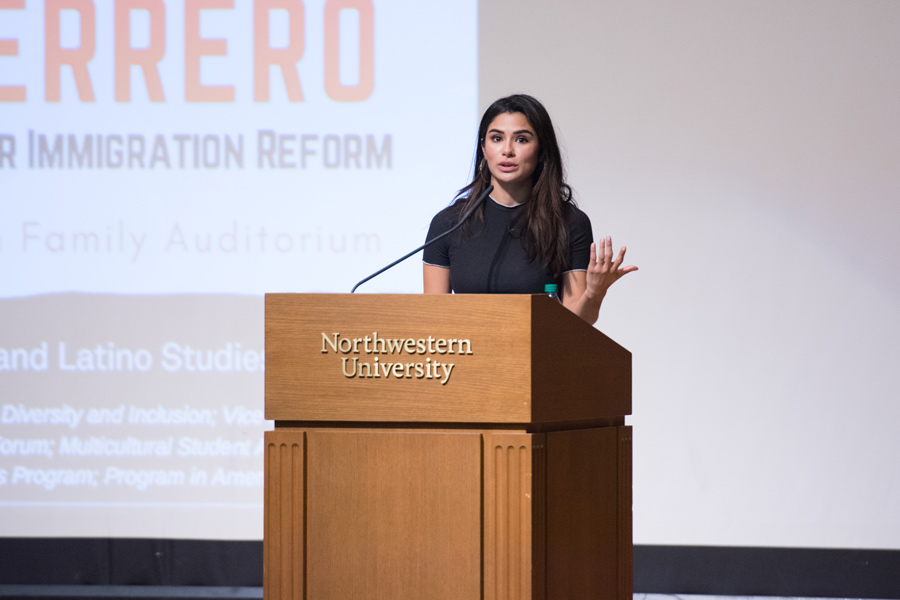 Diane+Guerrero+addresses+Northwestern+students+in+a+Tuesday+speech.+The+actress%2C+known+for+%E2%80%9COrange+is+the+New+Black%E2%80%9D+and+%E2%80%9CJane+the+Virgin%2C%E2%80%9D+spoke+on+her+experiences+in+the+entertainment+industry+and+her+struggles+with+mental+health.%0A
