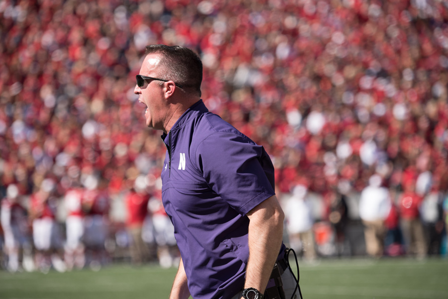 Coach+Pat+Fitzgerald+yells.+Like+many+Northwestern+teams%2C+his+squad+is+off+to+a+rough+start+this+season.