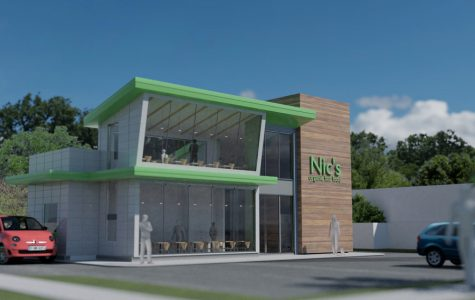 A proposed rendering of Nic's Organic Fast Food, 2628 Gross Point Rd. Owner Benjamin Brittsan hopes to open the second location of his chain next spring.