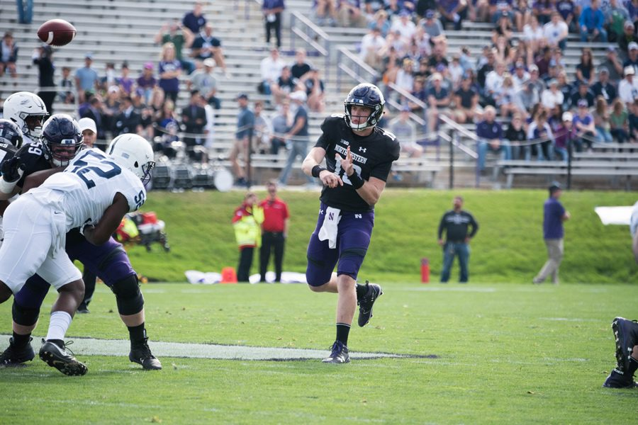 Clayton Thorson fires a pass. The junior quarterback turned the ball over three times against Penn State.