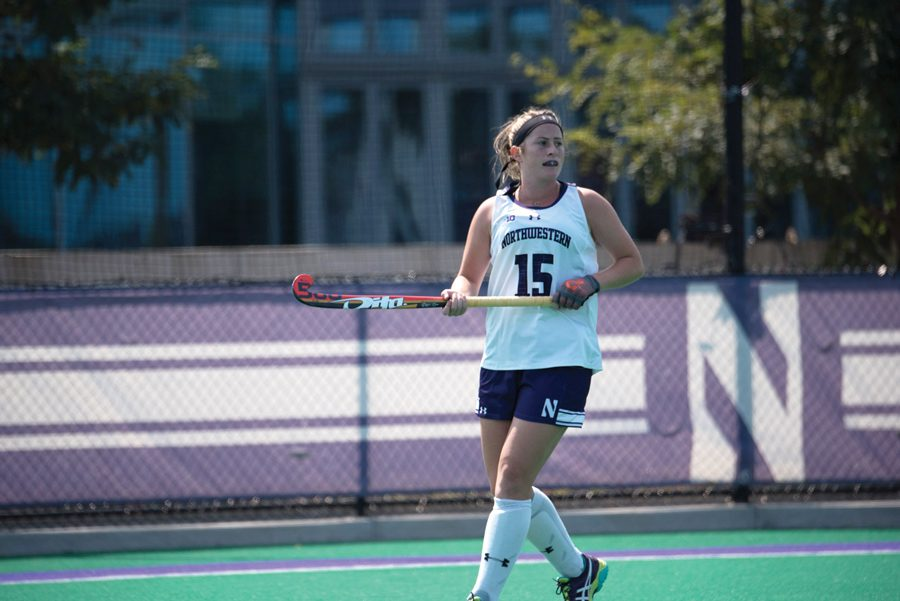 Sophia+Miller+moves+the+ball+upfield.+The+senior+defender+scored+the+game-winning+goal+in+No.+9+Northwestern%E2%80%99s+win+over+No.+22+Iowa.