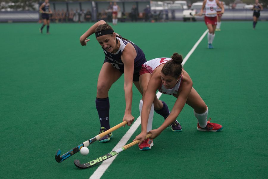 Pascale+Massey+fights+for+the+ball.+The+junior+forward+scored+a+goal+in+Northwestern%E2%80%99s+win+over+Ball+State+on+Sunday.+