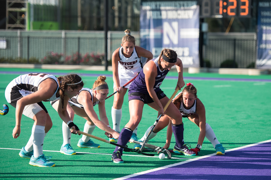 Pascale+Massey+gets+surrounded+by+four+defenders.+The+junior+forward+scored+a+goal+in+Northwestern%E2%80%99s+win+over+Rutgers+on+Friday.