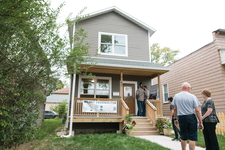 "An Evanston Township High School student-made home, 2142 Dewey Ave. ETHS students in ""Geometry in Construction"" built the house as a way of providing affordable housing to Evanston residents."