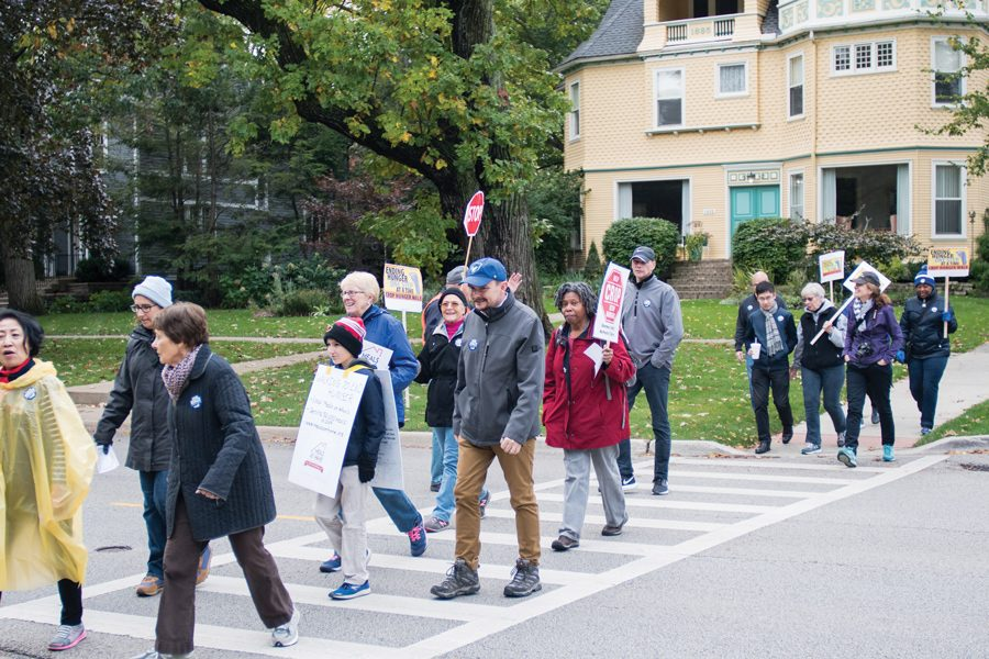 North Shore community members walk to raise awareness and funds for populations facing food insecurity. More than 250 people participated in the CROP Hunger Walk, sponsored by Church World Service.