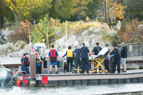 Safety forces rescue boat passengers near Dempster Street Beach