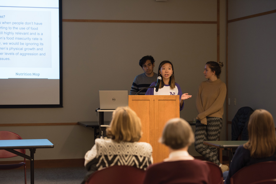 Northwestern SESP student Joanne Huang presents Evanston food insecurity findings at Evanston Public Library on Wednesday. The meeting was nonprofit Meals at Home's first time partnering with EPL.